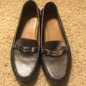 Silver coach loafers. Size 8!
